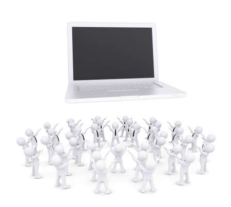 Group of white people worshiping laptop  3d render isolated on white background
