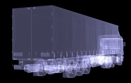 무거운: 고립 큰 트럭 트랙터는 X-레이의 렌더링