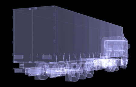 Big truck tractor  Isolated render of an X-ray photo