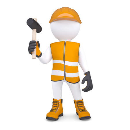 3d white man in overalls with a hammer  Isolated render on a white background photo