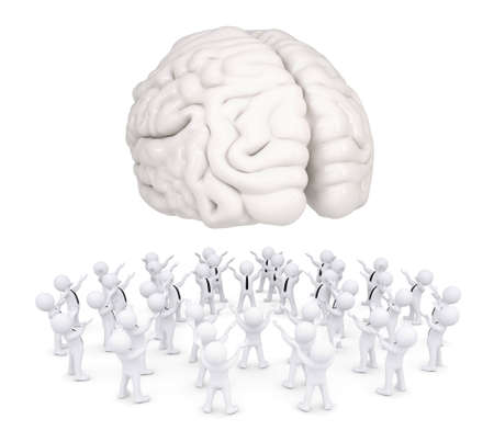 Group of white people worshiping brain  3d render isolated on white background photo