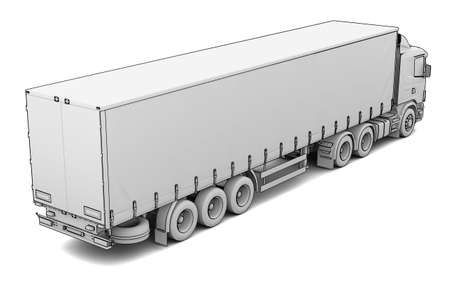 Sketch white truck  Isolated render on a white background Stock Photo