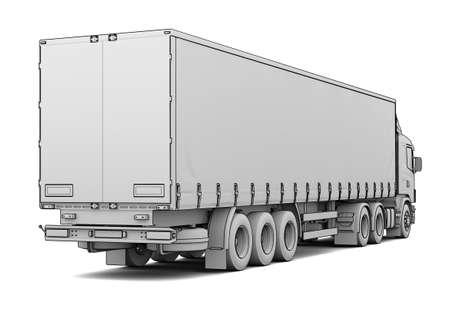 Sketch white truck  Isolated render on a white background Standard-Bild