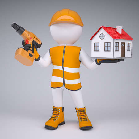 shoe repair: 3d white man in overalls with a screwdriver and small house  render on a gray background Stock Photo