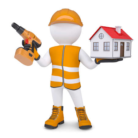 glove puppet: 3d white man in overalls with a screwdriver and small house  Isolated render on a white background