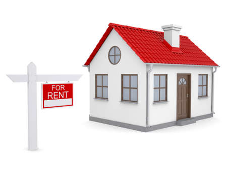 lease: Small house and sign a lease  Isolated render on a white background