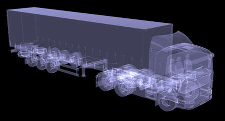 trailer truck: Big truck tractor  Isolated render of an X-ray