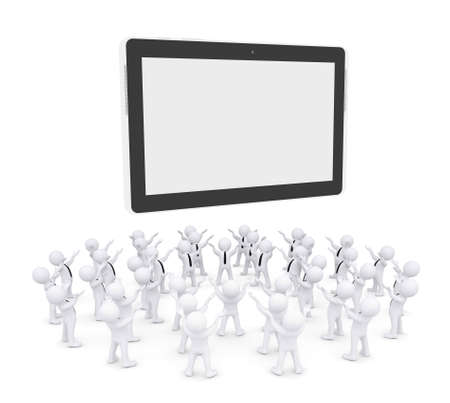 reverence: Group of white people worshiping tablet PC  3d render isolated on white background