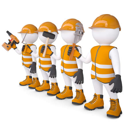 Four 3d white mans in overalls with a tools  Isolated render on a white background Standard-Bild