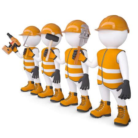 Vier 3d white mans in overall met een gereedschap geïsoleerd render op een witte achtergrond