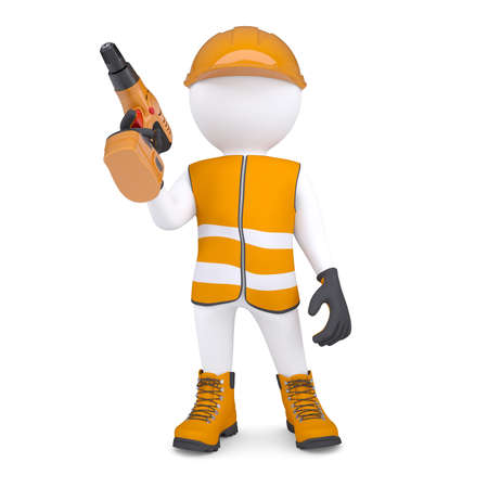 3d white man in overalls with a screwdriver  Isolated render on a white background photo