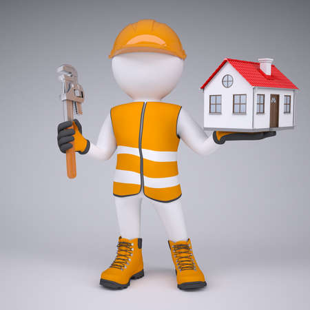 glove puppet: 3d man in overalls with wrench and house  render on a gray background Stock Photo