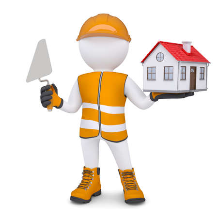 3d man in overalls with trowel and house  Isolated render on a white background photo