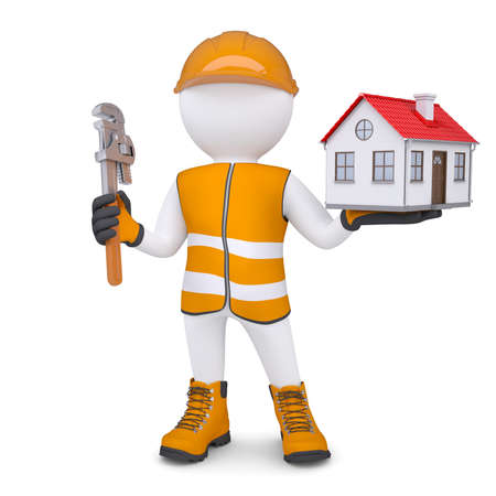 hi hat: 3d man in overalls with wrench and house  Isolated render on a white background Stock Photo