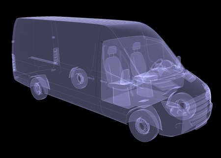 Business minibus  Isolated render of an X-ray Stockfoto