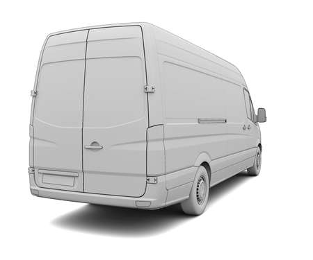Sketch white van  Isolated render on a white background