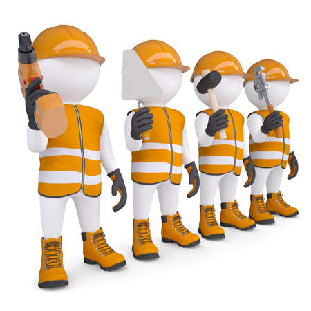 Four 3d white mans in overalls with a tools  Isolated render on a white background Stockfoto
