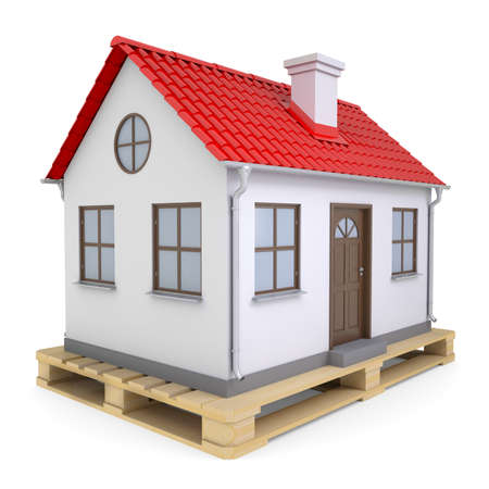 Small house on pallet  Isolated render on a white background photo