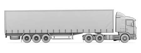 Sketch white truck  Isolated render on a white background Stock fotó