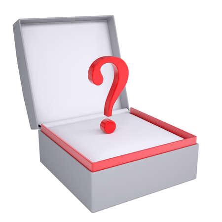 questionail: Pregunta en abierto 3d caja de regalo de procesamiento aislado en fondo blanco