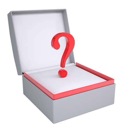 questionail: Question in open gift box  3d render isolated on white background