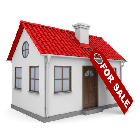 A small house with a label for the sale  Isolated render on a white background photo