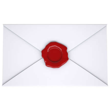 White envelope with a red seal. Isolated render on a white background photo