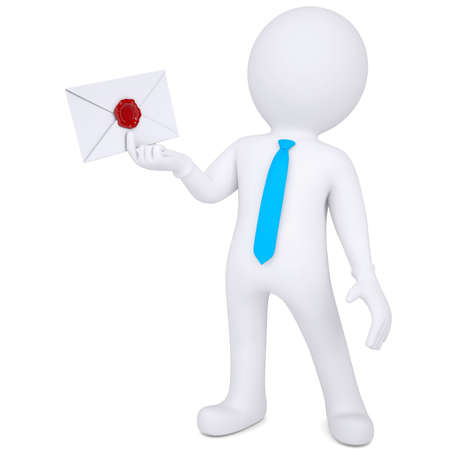 3d man holding an envelope in his hand. Isolated render on a white background photo