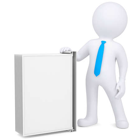 e learnig: 3d man holding a changeover advertising stand  Isolated render on a white background