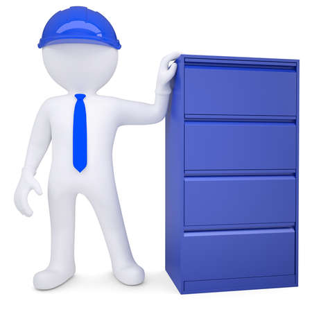 3d man in a hard hat next to a metal cabinet  Isolated render on a white background photo