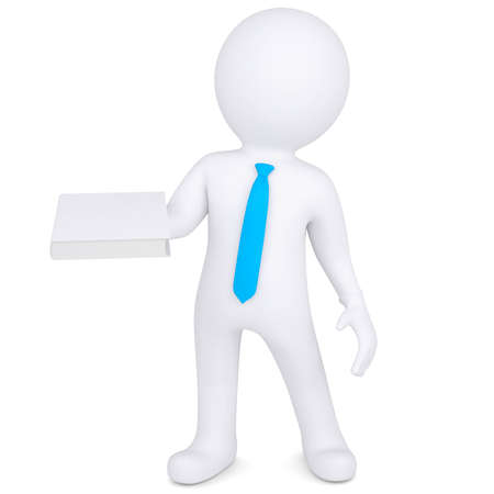 3d man holding a white paper in his hand  Isolated render on a white background photo