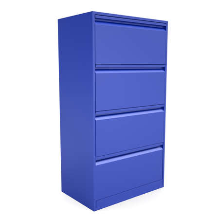 Blue metal cabinet. Isolated render on a white background photo