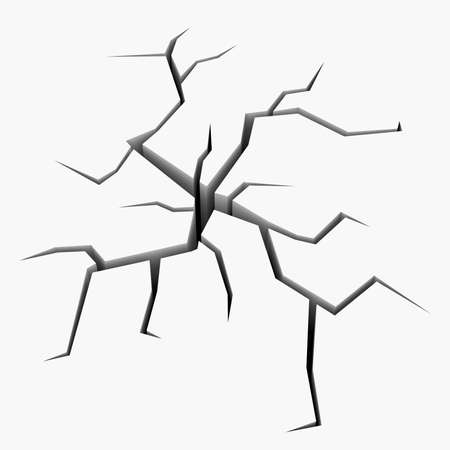 The crack in the white plane. Isolated render on a white background