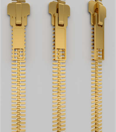 fastening: Closed lock zipper. 3d render of a gray background Stock Photo
