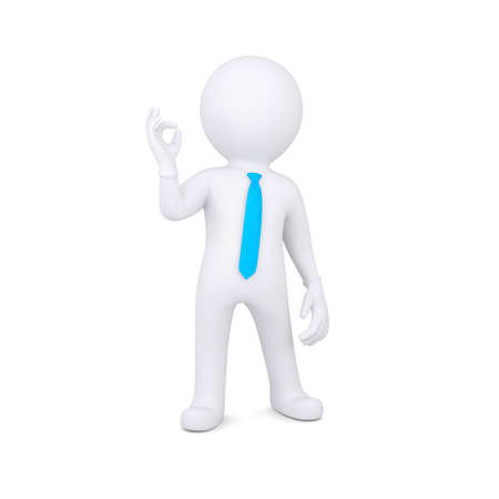 3d white man shows OK  Isolated render on a white background Stock Photo - 21377089