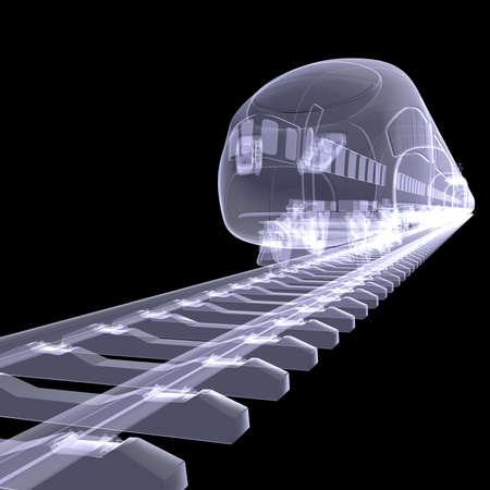 subway train: The new high-speed train  X-ray render isolated on a black background Stock Photo
