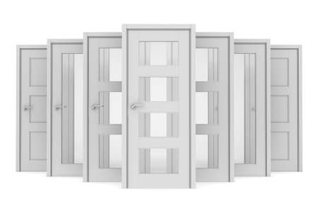 Group of white doors  Isolated render on a white background Stock Photo - 21377099