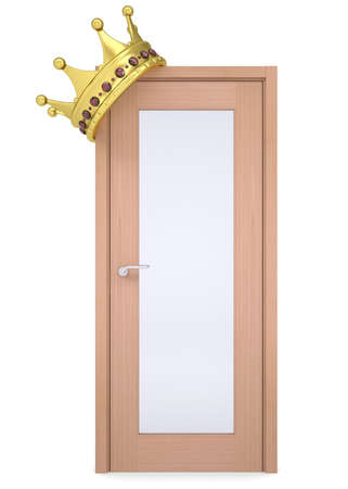 Gold crown on a wooden door  Isolated render on a white background Stock Photo - 21377101