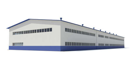 Industrial building  Isolated render on a white background Stockfoto