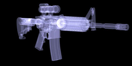 American rifle  X-ray render on black background photo