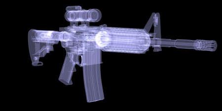 x ray machine: American rifle  X-ray render on black background