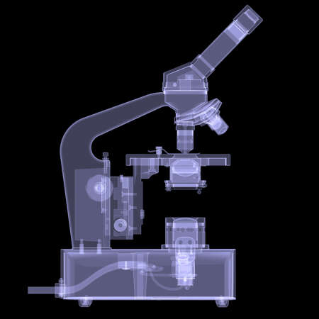 Microscope  X-ray render on a black background photo