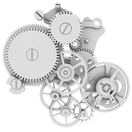 Clock mechanism  Isolated render on a white background Stockfoto