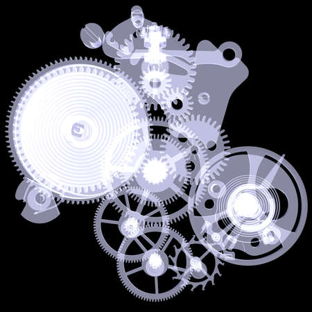 x ray machine: Clock mechanism  Isolated X-ray render on a black background