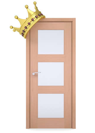 ruby house: Gold crown on a wooden door  Isolated render on a white background Stock Photo
