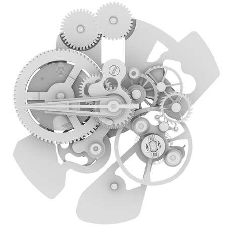 白い背景の上の時計のメカニズムから分離されたレンダリングします。