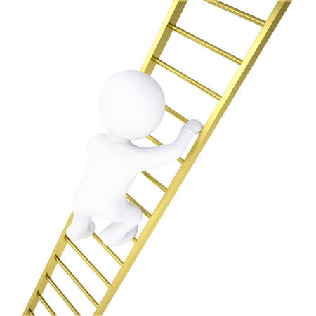 3d white man rises through golden stairs  Isolated render on a white background