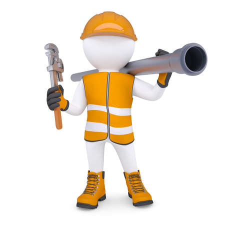 3d white man in overalls with a screwdriver and sewer pipe  Isolated render on a white background Stockfoto