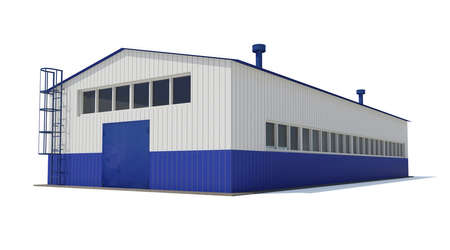 Industrial building  Isolated render on a white background Standard-Bild