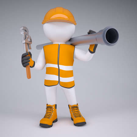 3d white man in overalls with a screwdriver and sewer pipe  Render on studio